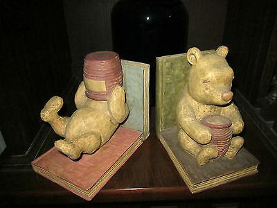 *RARE*CLASSIC HEAVY DISNEY**WINNIE THE POOH ** BOOKENDS with CHARPENTE LABEL