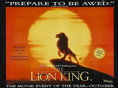 """The Lion King 1994 16"""" x 12"""" Reproduction Movie Poster Photograph"""