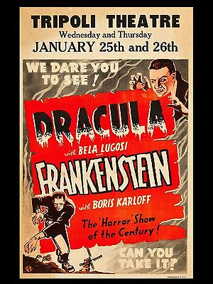 """Dracula / Frakenstein 16"""" x 12"""" Reproduction Movie Poster Photograph"""