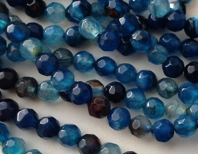 LOT 20 PERLES AGATE NATUREL BLEU CANARD PIERRE FINE RONDE FACETTE 4mm