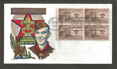 1950 #995 Boy Scout Cachet Craft multicolor FDC block