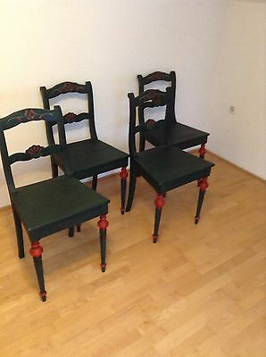 Beautiful Hand Painted Rustic Farm House Alpine Chairs Set Of 4