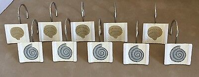 Shower Curtain Hooks Rings Two Different Sea Shells Beach Ocean Set of 10