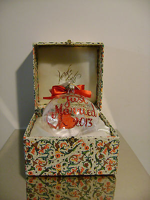 Lord & Taylor Just Married Red & Clear Christmas Holiday Ornament In Box 2013