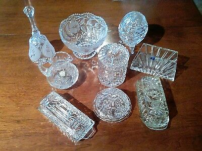 Lot Of 9 Beautiful Pieces of Crystal and Cut Glass