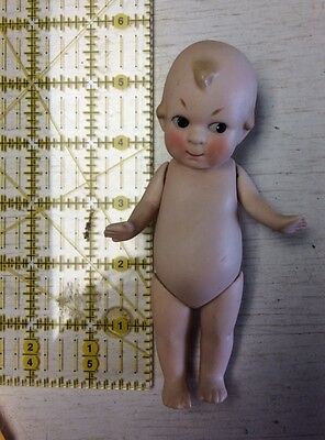 """Vtg Bisque China Doll Germany 5-1/4"""" Tall Jointed Kewpie"""
