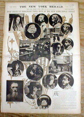 1899 newspaper w large poster display showing IMMIGRANTS to the US from EUROPE