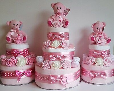 Nappy Cakes For Baby Girl - 2 Tier / 3 Tier / Baby Shower / New Baby Gift
