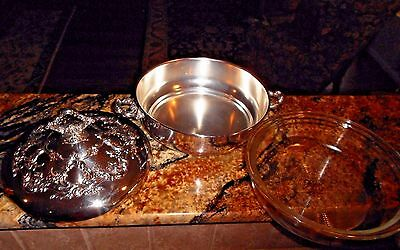 Silver Plated Round Covered Casserole w/Glass in Old Master-Embossed Rose Scroll