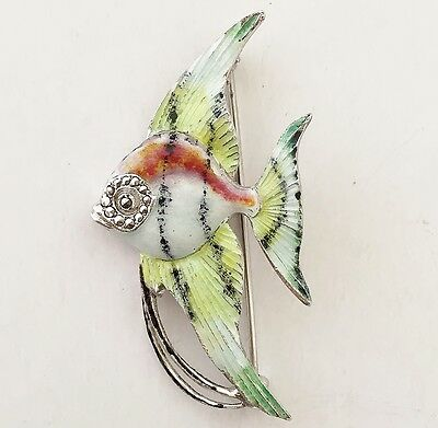 Antique Vintage 925 Solid Silver & Enamel Fish Brooch - Marcasite Stone detail