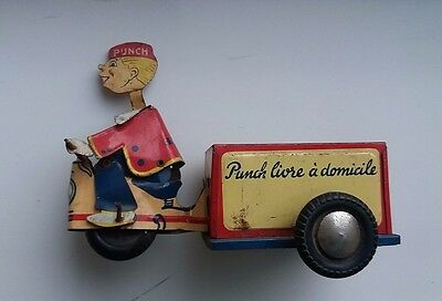 Vintage tinplate Jouets Monte blanc Punch Delivery Cart, friction toy, France