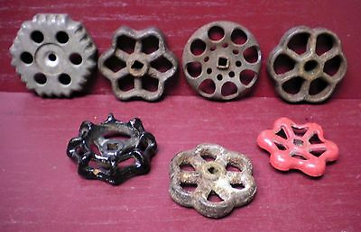 7 Antique & Vintage Cast Iron & Aluminum Shut Valve Handles Steampunk Art #04