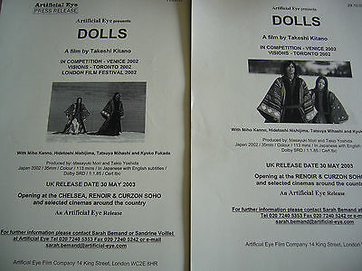 DOLLS (TAKESHI KITANO) 20 pages PRESS RELEASE PRODUCTION NOTES