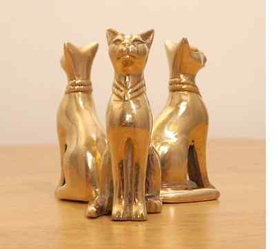 Vintage  egyptian Solid Brass Cat one of kind