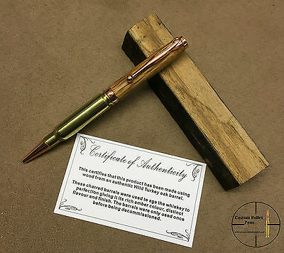 308 Bullet Pen Made From Wild Turkey Barrel In Copper Colour