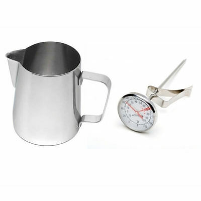 Stainless Steel Milk Frothing Jug 20oz / 600ml & Thermometer Latte Cappuccino