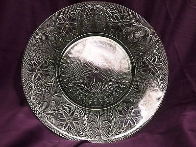 Vintage Depression Glass Green Plate With Floral Designs, 10.5 inch diameter