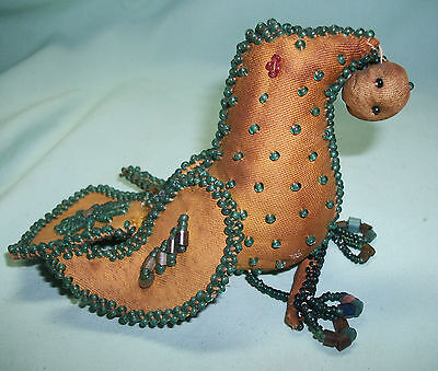 Antique Native American (Possibly Iroquois) BEADED WHIMSEY BIRD Pincushion