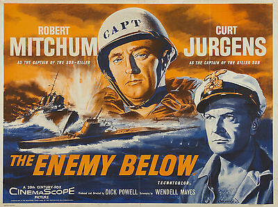 """The Enemy Below 1957 16"""" x 12"""" Reproduction Movie Poster Photograph"""