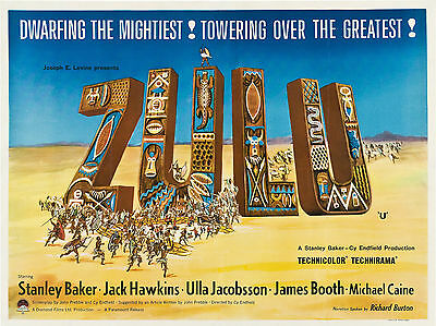 "Zulu 1964 16"" x 12"" Reproduction Movie Poster Photograph"