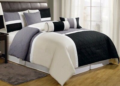 7-Piece Medallion Quilted Patchwork Comforter Set Queen, Black Gray Ivory