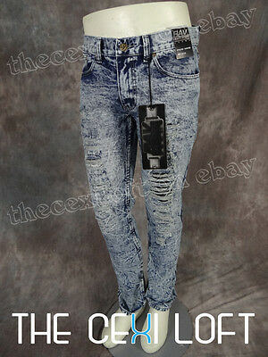 Mens Distressed JEANS Straight Leg DESTROYED STYLE Blue Wash Rips Holes & Fades