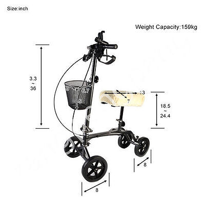 Knee Walker Knee Roller Walker Steerable with Pad Cover Basket (grey )
