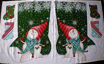 Two Big & Four Small Christmas Stockings Fabric Panel  Snowman Hat Scarf