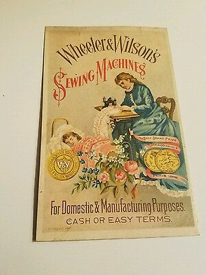 vintage trade card wheeler & Wilsons sewing machines victorian