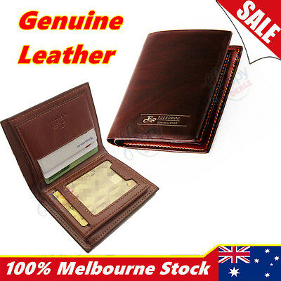 Premium Genuine Leather Mens Purse Bifold Brown Business Credit Card Wallet New