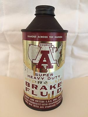 Vintage Double A Brake Fluid Cone Top Can 12 Oz 1950s EX Cond
