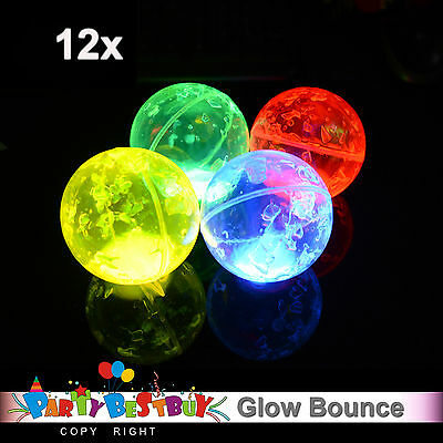 12x Glowstick Bounce Ball MIx Colour Glow stick Bouncing Glow in the dark Party