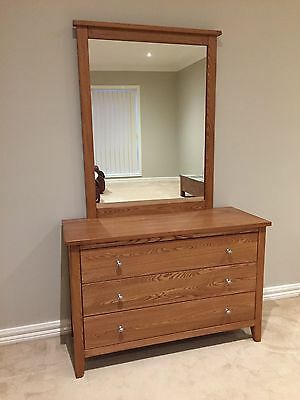 Solid Victorian Ash Dressing Table with Mirror