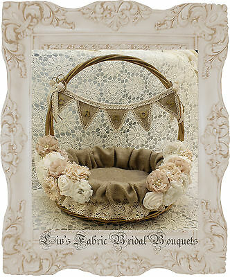 Wishing Well/ Card Basket Rustic style hessian and ivory lace flower detail