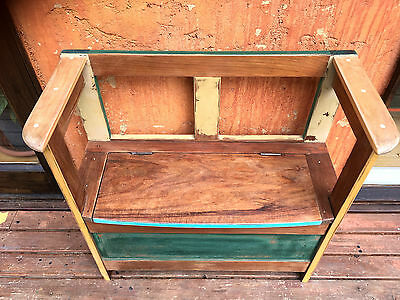 vintage antique solid timber hallway bench / chest
