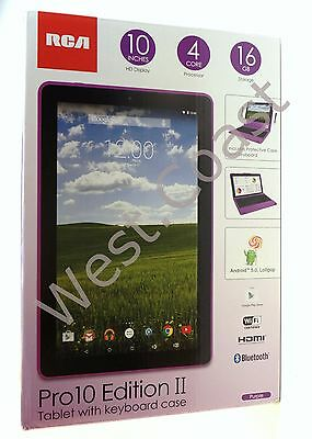 New RCA 2 in 1 Tablet 10.1 Pro 2 Keyboard Case 16GB Bluetooth WiFi Camera Purple