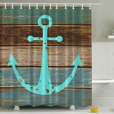Waterproof Polyester Nautical Anchor Rustic Wood Shower Curtain 180 x 180cm