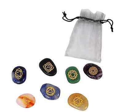 7 Piece Plam Chakra Stones Set with Bag and Chakras booklet (new age)
