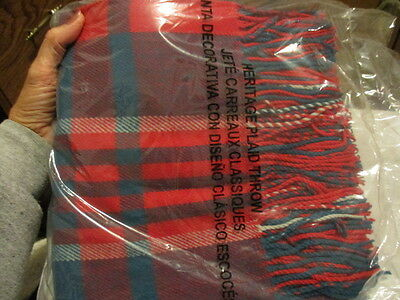 """AVON  """"Heritage Plaid Throw"""" Polyester 50"""" x 60"""" Red & Green With Fringe Ends"""
