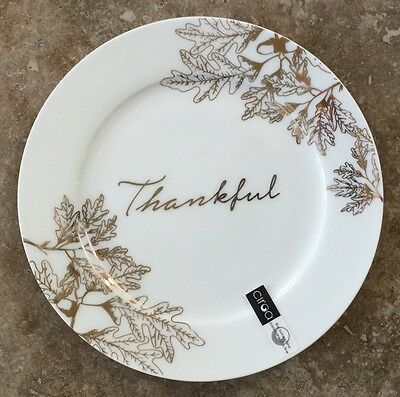 Ciroa Luxe Metallic Gold Thankful Side Plates Set Of 4 Holiday Thanksgiving
