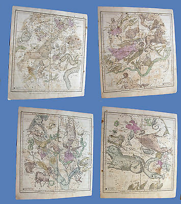 Constellations and Stars Maps/Charts for a year by Huntington 1835  Plates 1 - 5