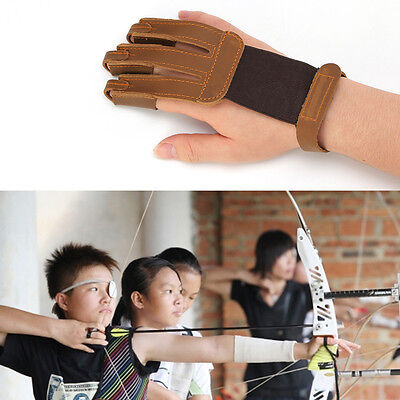Protecting 3-Finger Glove Pulling Bow And Arrow Archery Shooting Leather Gloves