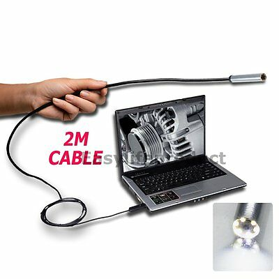 USB Endoscope Borescope Inspection IP67 Waterproof 7mm Camera 2m Flexible Cable