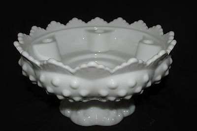 Fenton Hobnail White Milk Glass Candle Holder DISH Footed 6 Hole Vintage 17CmW