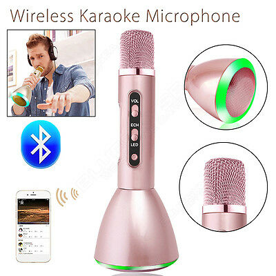 Wireless Karaoke Microphone Bluetooth Portable Stereo Fr Android Smartphone Pink