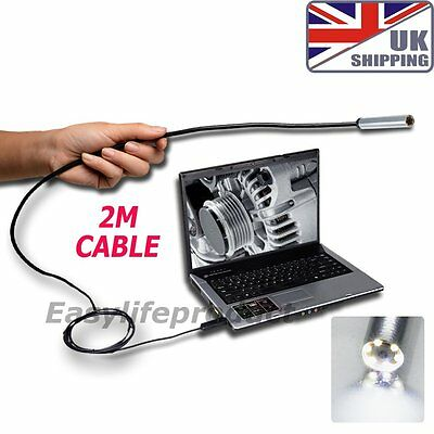 USB Endoscope Borescope Inspection IP67 Camera 7mm 2m Flexible Supporting Cable
