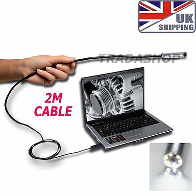 USB Endoscope Borescope Inspection Camera Waterproof 6LED 7mm 2m SupportingCable