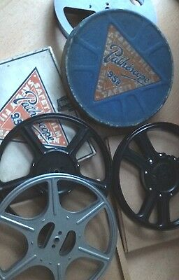 4 X Pathescope 9.5mm reels with film storage boxes POST FREE