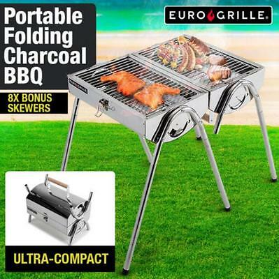 Portable Charcoal Folding BBQ Outdoor Stainless Steel Camp Grill 8 BONUS skewers
