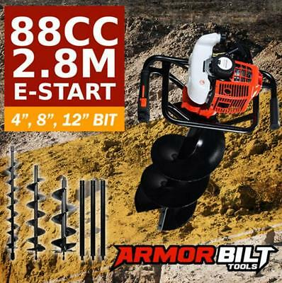 88CC 2-Stroke Petrol Post Hole Digger Earth Auger Drill Bit Fence Borer Bits
